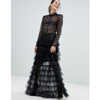 Bronx and Banco Spot Mesh Tulle Maxi Dress - Black/ nude