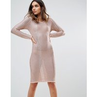 Wow CoutureWOW Couture Metallic Crochet Knitted Midi Dress - Rose gold