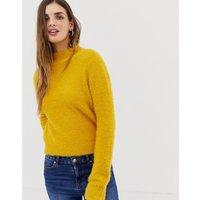 Urban Bliss Fluffy Wrap Back Jumper - Mustard