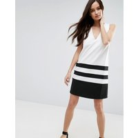 ASOSASOS Colourblock Shift Dress with Deep V - Mono