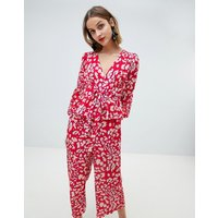 Lost Ink Wide Leg Jumpsuit With Fluted Sleeves In Leopard - Red leopard
