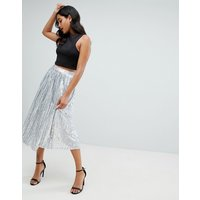TFNC sequin pleated midaxi skirt in silver - Silver iridescent