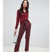 Parisian Tall stripe wide leg trouser - Wine