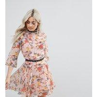 Glamorous PetiteGlamorous Petite Allover Floral Ruffle Mini Dress With Hardware Trim Detail - Multi