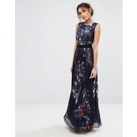 Little MistressLittle Mistress Pleated Maxi Dress in Navy Floral - Navy multi