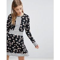 Yumi Floral Skater Dress with Contrast Stripe Trim - Black