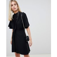Fashion Union Shirt Dress With Tie Front Detail - Black