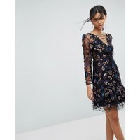 Tresophie Allover Embroidery Tie Up Dress - Black pattern