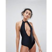 Brave Soul Choker Neck Plunge Swimsuit - Black