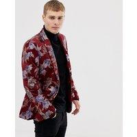 Burton Menswear jacquard blazer in burgundy - Burgundy