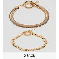 Asos Design Pack Of 2 Bracelets With Heavyweight Chain And Flat Rope Chain Gold - Gold