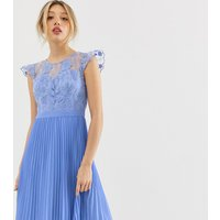 Chi Chi London Petite midi dress with pleated skirt and embroidered top detail in cornflower blue