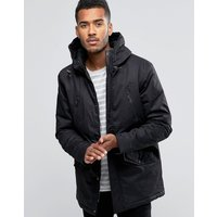 Brave Soul Hooded Bonded Parka - Black