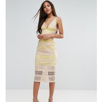 ASOS TallASOS TALL Hitchcock Graphic Lace Midi Pencil Dress - Yellow