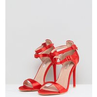 Lost Ink Wide Fit Red Satin Barely There Sandals - Red