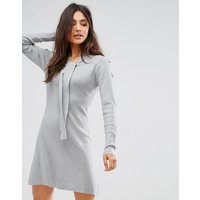 QED LondonQED London Jumper Dress With Tie Neck Detail - Grey marl
