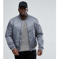 Brave Soul PLUS Ma1 Bomber Jacket - Light grey