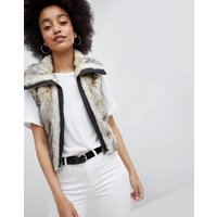 Urban Bliss Cropped Fur Gilet - Cream