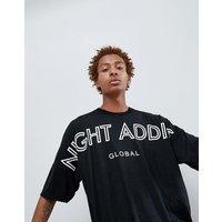 Night Addict Dropped Shoulder Back Print T-Shirt - Black