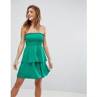 ASOSASOS Bandeau Shirred Mini Sundress With Peplum Hem - Green