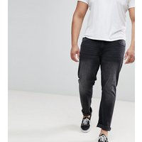 Duke King Size Tapered Fit Jeans In Grey Stonewash With Stretch - Grey