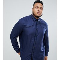 ASOS DESIGN plus regular fit western viscose shirt in navy with poppers - Navy