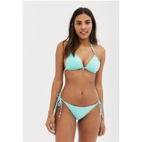 Accessorize Textured Tie Side Bikini Bottom In Aqua