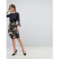 Ted Baker Blayyke Ruffle Pencil Skirt in Peach Blossom Print - Black