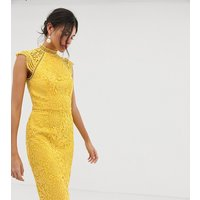 Chi Chi London Tall scallop lace pencil dress in yellow