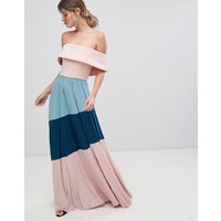 ASOS DESIGN Scuba Bardot Colourblock Pleated Maxi Dress