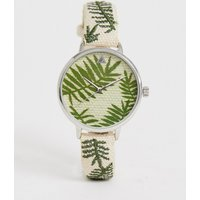 Asos Design Embroidered Palm Leaf Woven Watch - Straw Effect
