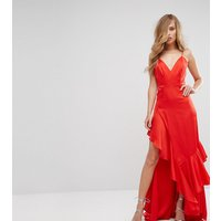 Fame and PartnersFame and Partners Matte Satin Gown with Frill Detail - Red