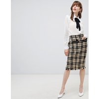 Darling Textured Checked Pencil Skirt - Black/ yellow