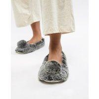 Totes Pom Pom Slippers - Grey