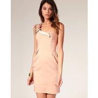 ASOS Folded One Shoulder Dress - Rose dust