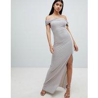 AX Paris bardot maxi dress with side split - Grey