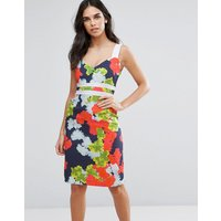 VesperVesper Floral Pencil Dress With Contrast Waistband - Neon floral
