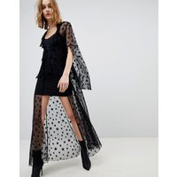 Anna Sui Star Mesh Sheer Tie Up Dress - Black