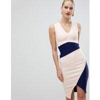 Vesper asymmetric hem pencil dress in colourblock - Multi