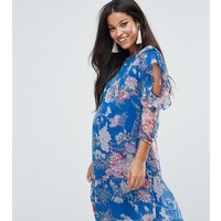 ASOS MaternityASOS Maternity Blue Floral Dress with Peplum and Ruffle Detail - Blue base floral