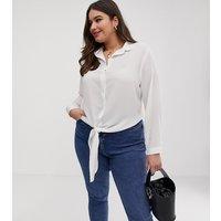 Brave Soul Plus nili tie front shirt - Off white