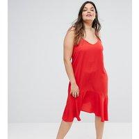 New Look PlusNew Look Curve Peplum Slip Dress - Red