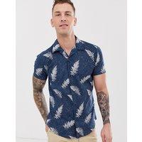 Selected Homme revere collar leaf print short sleeve shirt in blue - Dark blue aop