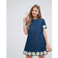 The English FactoryThe English Factory Denim Short Sleeve Dress With Daisy Embroidered Detail - Denim