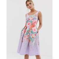 Chi Chi London satin midi prom dress with deep scoop neck with floral placement