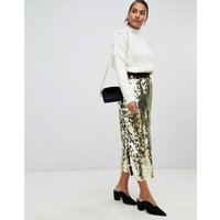 French Connection Disc Sequin Maxi Skirt - Gold