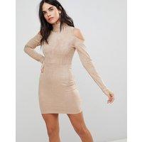 AX Paris Cold Shoulder Long Sleeve Bodycon Dress - Stone