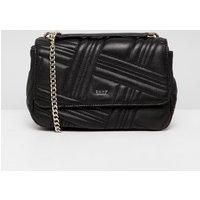 Dkny Allen Leather Quilted Shoulder Bag In Black - Black Gold