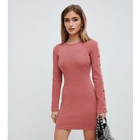 Missguided Petite ribbed popper sleeve mini dress in pink - Beige