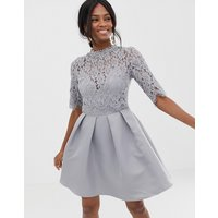 Little Mistress 3/4 sleeve mini skater dress with lace upper - Grey